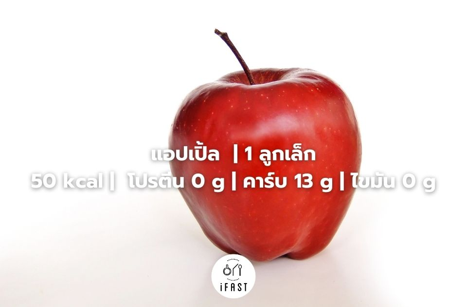 แอปเปิ้ล | 1 ลูกเล็ก 50 kcal | โปรตีน 0 g | คาร์บ 13 g | ไขมัน 0 g