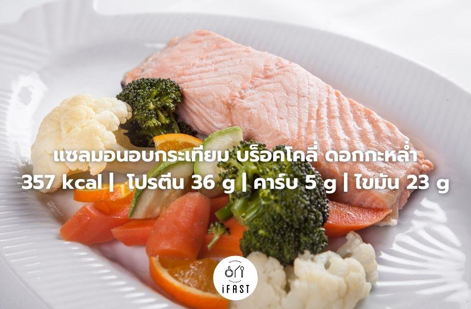 แซลมอนอบกระเทียม บร็อคโคลี่ ดอกกะหล่ำ 357 kcal | โปรตีน 36 g | คาร์บ 5 g | ไขมัน 23 g